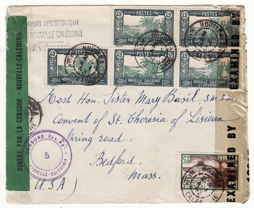 [20075]  NEW CALEDONIA - USA …WW2 TRANS PACIFIC DOUBLE CENSORED AIRMAIL…  1943 (Jan 4)