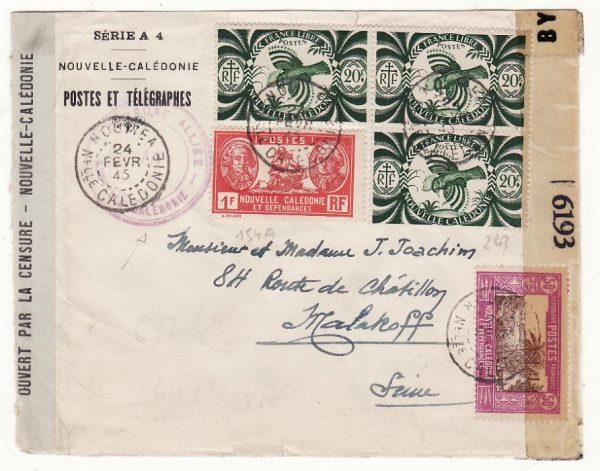 NEW CALEDONIA - FRANCE …WW2  DOUBLE CENSORED …