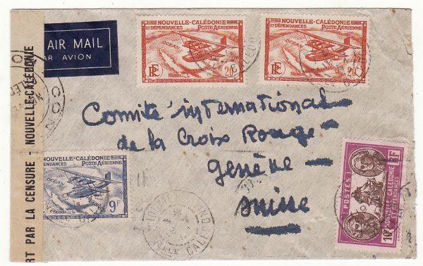 NEW CALEDONIA - SWITZERLAND…WW2  CENSORED AIRMAIL…
