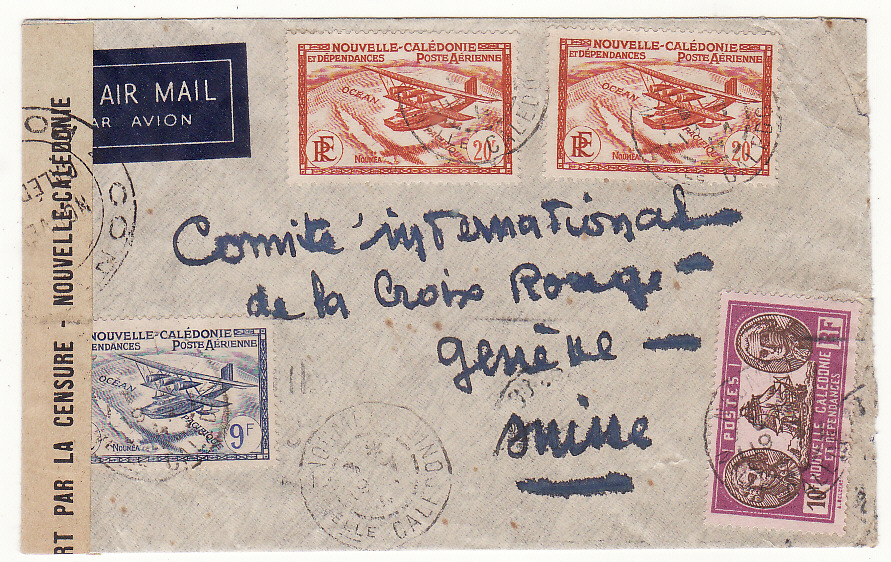 [20077]  NEW CALEDONIA - SWITZERLAND…WW2 CENSORED AIRMAIL…  1941(Jul 13)