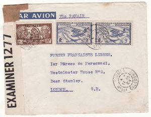 NEW CALEDONIA - GB …WW2  AIRMAIL to FREE FRENCH in LONDON …