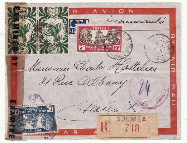 NEW CALEDONIA - FRANCE …WW2  REGISTERED DOUBLE CENSORED 2 OCEAN AIRMAIL …