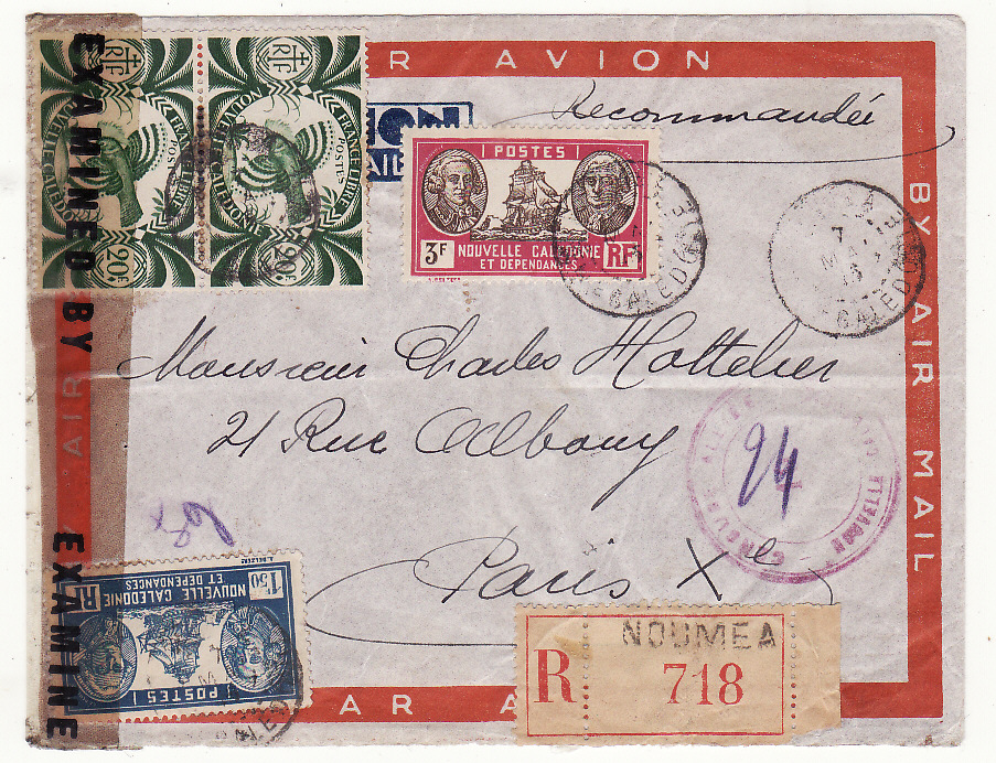 [20081]  NEW CALEDONIA - FRANCE …WW2 REGISTERED DOUBLE CENSORED 2 OCEAN AIRMAIL …  1945 (May 7)