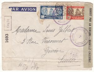 NEW CALEDONIA - SWITZERLAND…WW2  CENSORED by 4 COUNTRIES AIRMAIL…