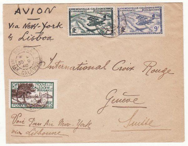 NEW CALEDONIA - SWITZERLAND…WW2  CENSORED AIRMAIL to RED CROSS…
