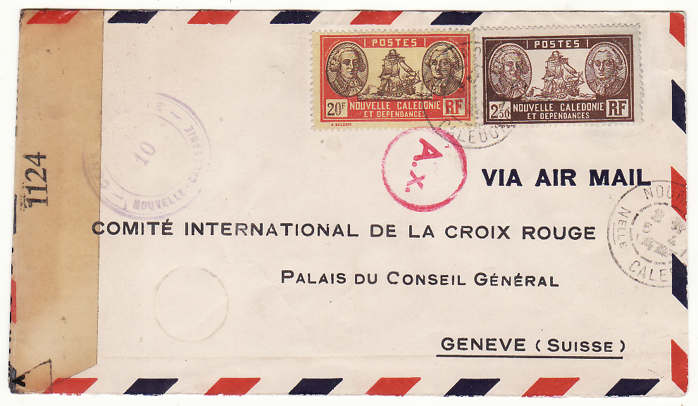 [20084]  NEW CALEDONIA - SWITZERLAND…WW2 CENSORED AIRMAIL to RED CROSS…  1944 (Apr 5)