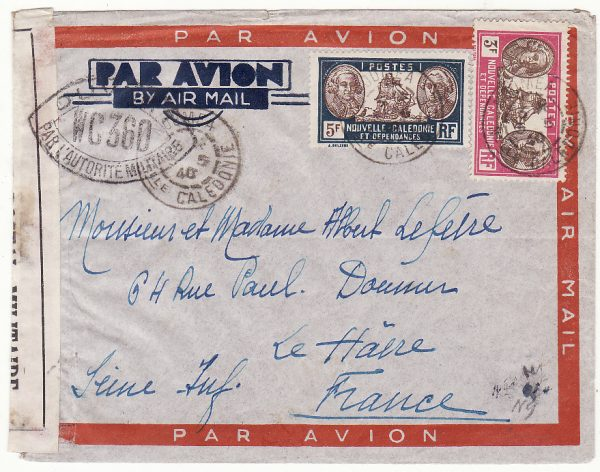 NEW CALEDONIA - FRANCE …WW2  CENSORED AIRMAIL …