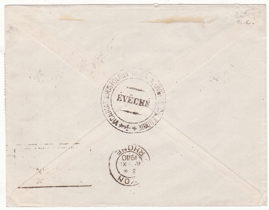 [20086]  NEW CALEDONIA - FRANCE …WW2 AIRMAIL UNCENSORED to LYON, VICHY FRANCE …  1940 (Nov 12)