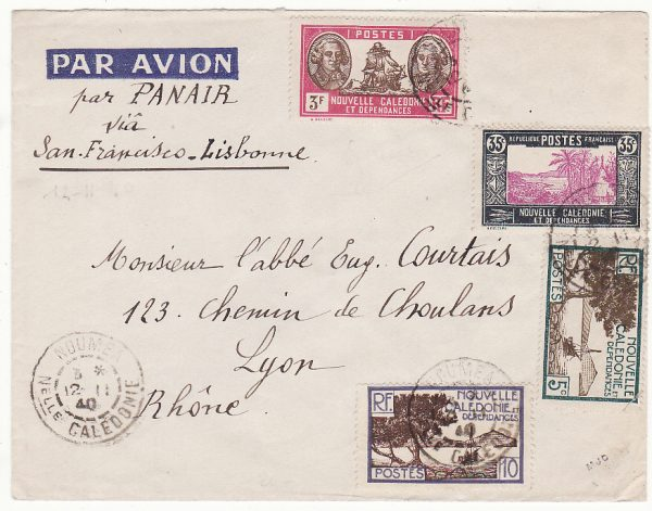 NEW CALEDONIA - FRANCE …WW2  AIRMAIL UNCENSORED to LYON