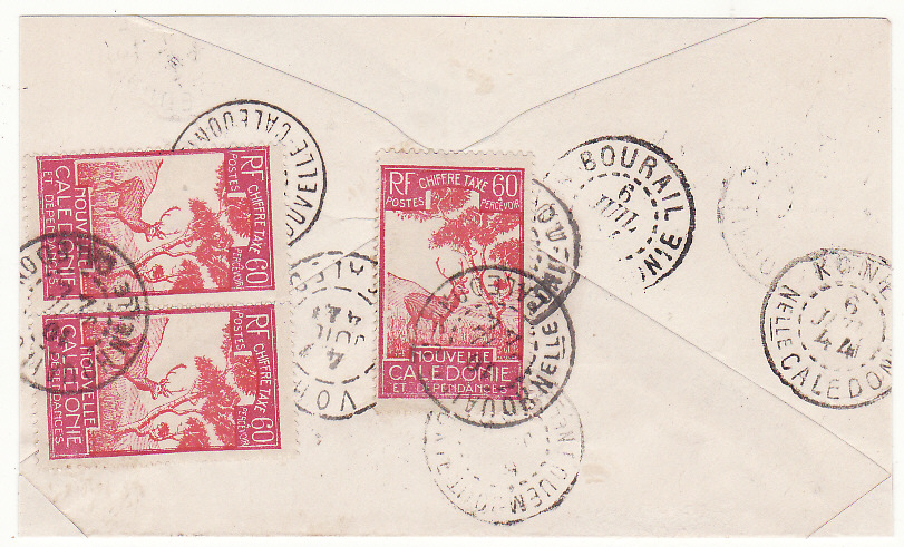 [20093]  NEW CALEDONIA …WW2 INTERNAL MAIL between SMALLER TOWNS & TAXED …  1944 (Jul 4)