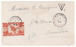 NEW CALEDONIA …WW2 INTERNAL MAIL between SMALLER TOWNS & TAXED …