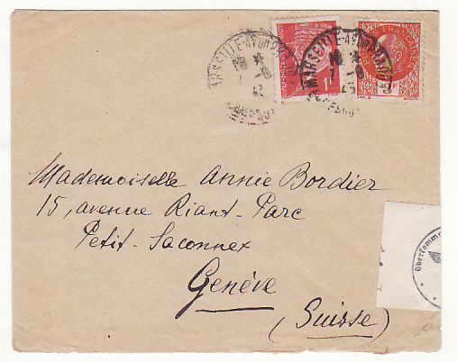 [19057]  FRANCE - SWITZERLAND…GERMAN OCCUPATION of S.E. FRANCE…  1943 (Aug 7)
