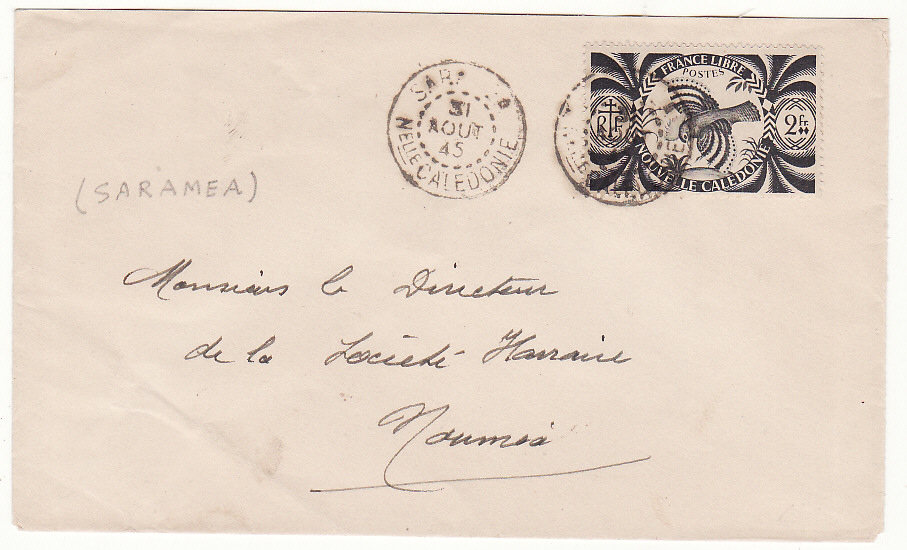 [20095]  NEW CALEDONIA …WW2 INTERNAL MAIL SARAMEA to NOUMEA …  1945 (Aug 31)