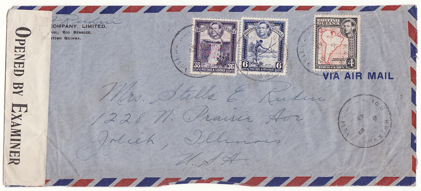 [14726]  BRITISH GUIANA-USA [VILLAGE CANCEL]  1943(May 6)