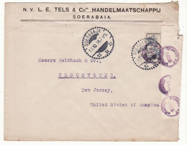 NETHERLAND EAST INDIES-USA [WW1-CENSORED]