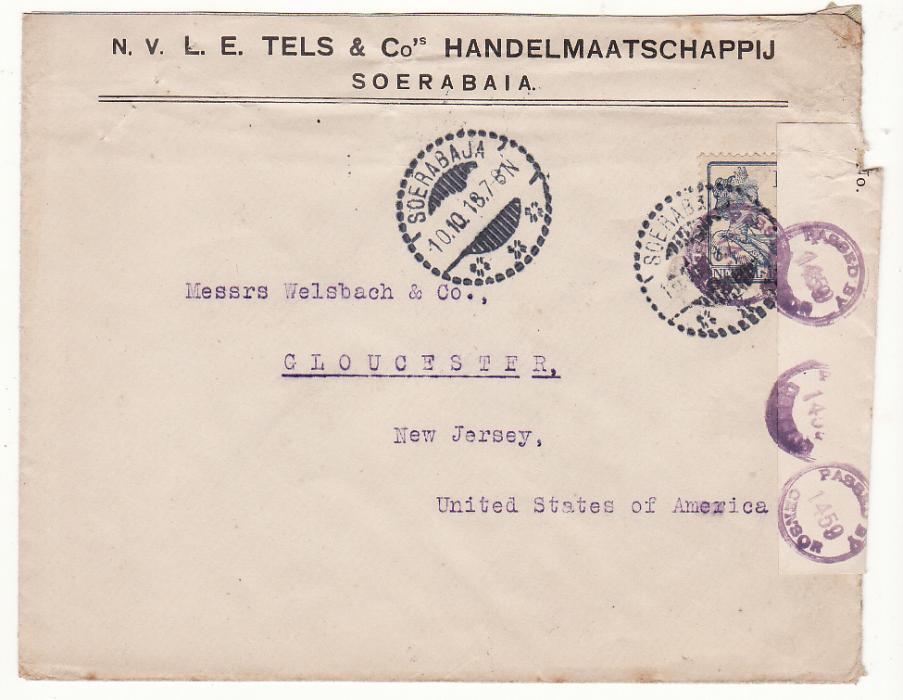 [16349]  NETHERLAND EAST INDIES-USA [WW1-CENSORED]  1918(Oct 10)