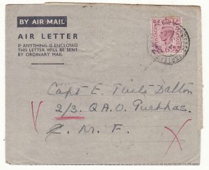 GB - CYPRUS….WW2 FORWARDED to PALESTINE via EGYPT...