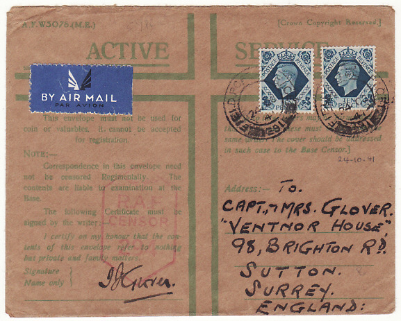 [16034]  CYPRUS - GB...WW2 RAF CENSORSHIP…  1941 (Oct 24)