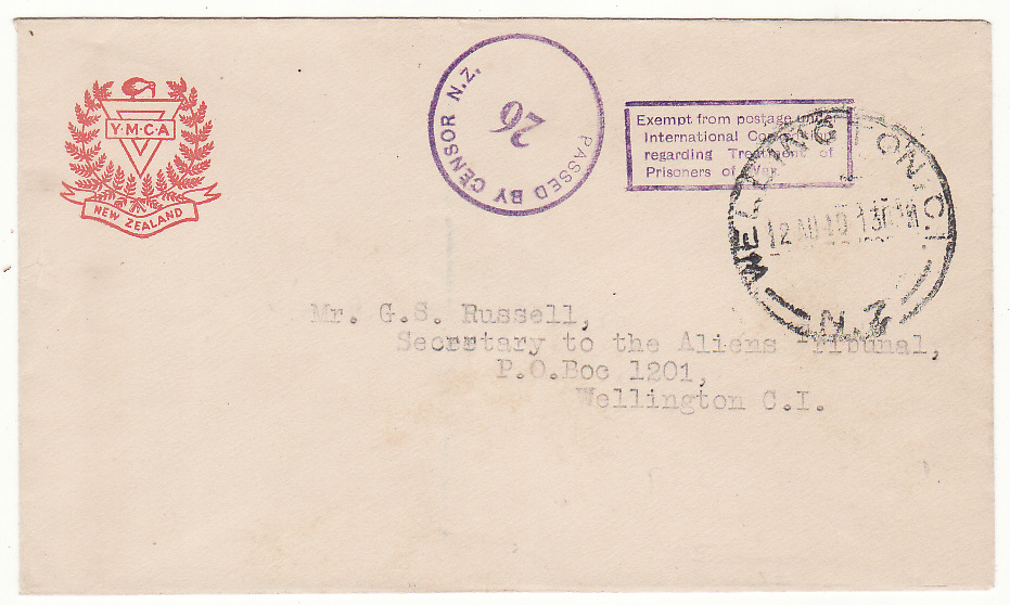[19534]  NEW ZEALAND…WW2 SOMES ISLAND INTERNMENT CAMP…  1940 (Aug 12)