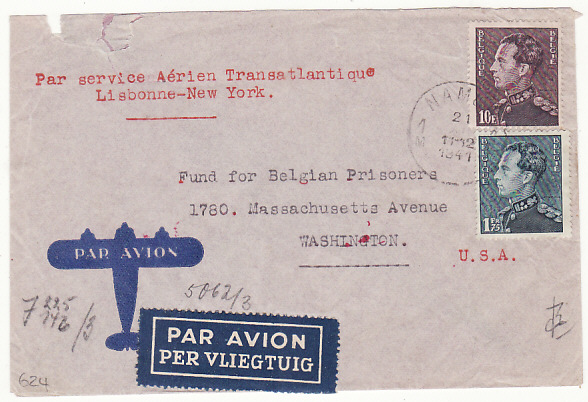 [17523]  BELGIUM-USA [WW2 CENSORED/FUND for BELGIAN PRISONERS]  1941(Dec 11)
