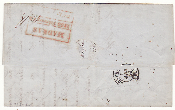 [17951]  INDIA - FRANCE...1850 PRE-STAMP OVERLAND from MADRAS...  1850 (Feb 21)