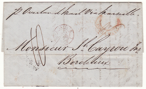 INDIA - FRANCE...1850 PRE-STAMP OVERLAND from MADRAS...