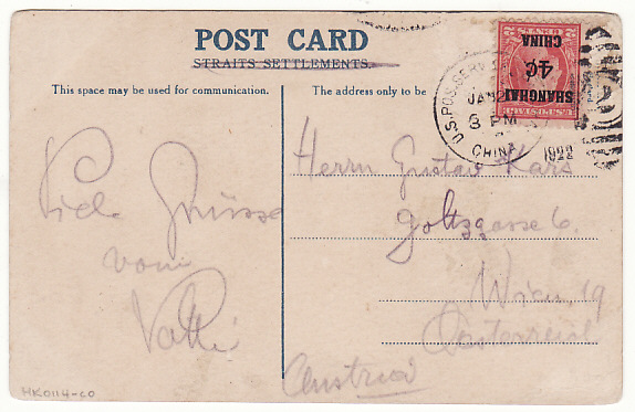 [17944]  CHINA - AUSTRIA...US POSTAL AGENCY in SHANGHAI...  1922 (Jun 19)