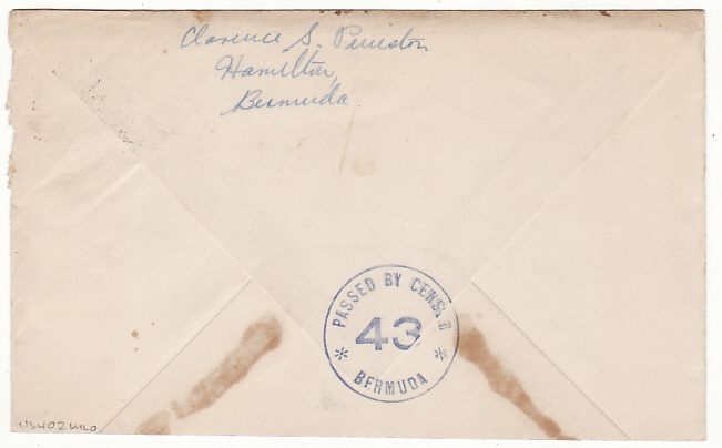 [19285]  BERMUDA - USA...WW2 CENSORED…  1943 (Dec 2)