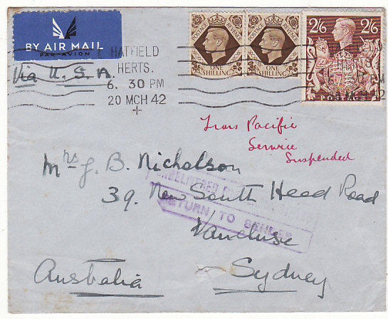 [18169]  GB - AUSTRALIA...WW2 TRANS PACIFIC AIRMAIL SERVICE SUSPENDED …  1942 (Mar 20)