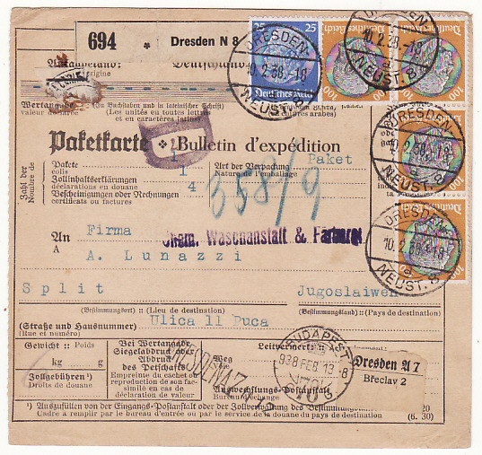 GERMANY - YUGOSLAVIA....REGISTERED PARCEL PACKET RECEIPT ..