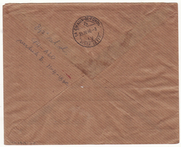 [18488]  NED. EAST INDIES - SWITZERLAND.... WW2 REGISTERED AIRMAIL CENSORED in SINGAPORE…  1940 (Apr 10)