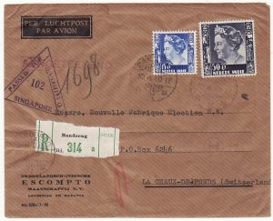 NED. EAST INDIES - SWITZERLAND.... WW2 REGISTERED AIRMAIL CENSORED in SINGAPORE…