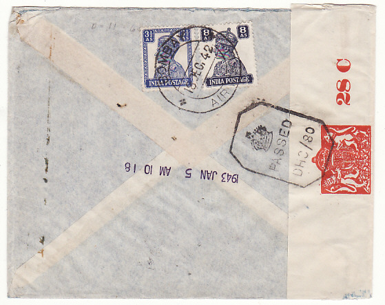"[18960]  INDIA - USA… WW2 CENSORED TRANS-AFRICA AIRMAIL..  1942 (Dec 19 Plain envelope by airmail endorsed ""India -Lagos-USA"" to Hudson Exporting Corp., Hoboken N.Y. bearing India GV1 pair 1r + on reverse definitives 8a + 3½a making 2r 11½a rate tied Bombay GPO date stamp & with red on white Arms 28 C / Opened By Censor label (CCSG 6B1)"
