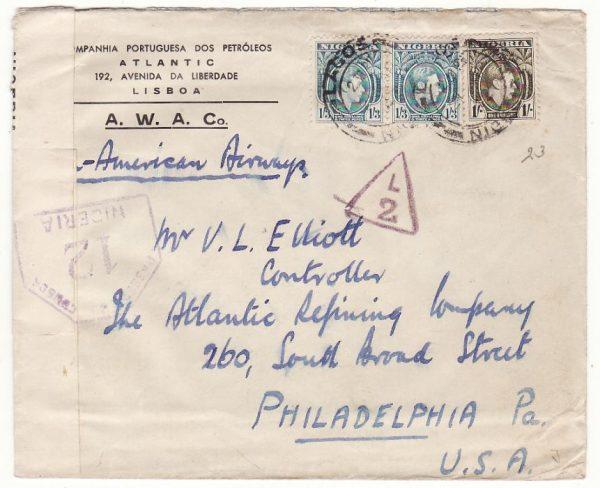NIGERIA - USA…WW2 CENSORED AIRMAIL