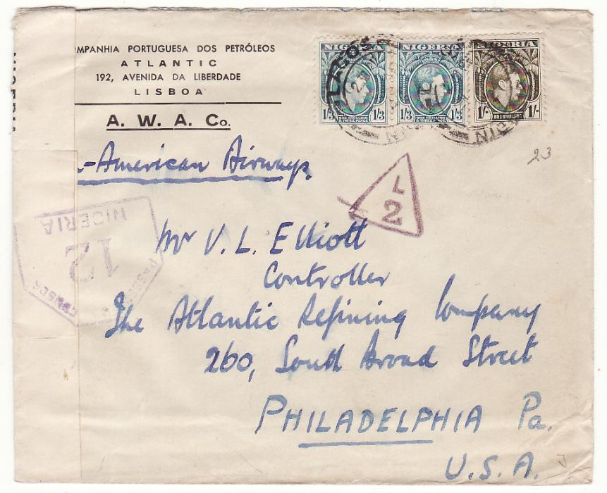 [19286]  NIGERIA - USA…WW2 CENSORED AIRMAIL  1942 (Apr 21)