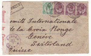 SOUTH AFRICA - SWITZERLAND..WW1 REGISTERED & CENSORED to RED CROSS…