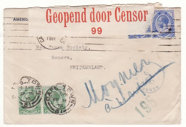 SOUTH AFRICA - SWITZERLAND..WW1 AMERIICAN CONSULAR SERVICE CENSORED to RED CROSS…