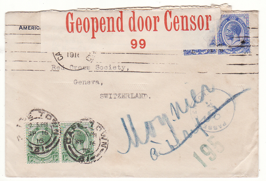 [20108]  SOUTH AFRICA - SWITZERLAND..WW1 AMERIICAN CONSULAR SERVICE CENSORED to RED CROSS…  1916 (Sep 16)