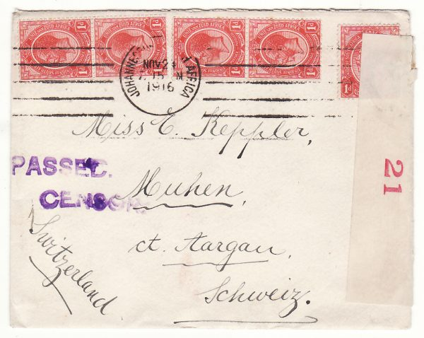 SOUTH AFRICA - SWITZERLAND..WW1 CENSORED DOUBLE RATE to AARGAU…
