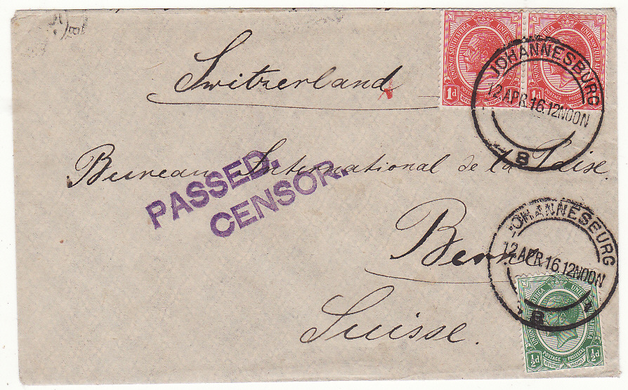 [20111]  SOUTH AFRICA - SWITZERLAND..WW1 CENSORED to PEACE BUREAU in BERN…  1916 (Apr 12)