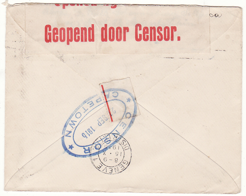 [20112]  SOUTH AFRICA - SWITZERLAND..WW1 CENSORED to RED CROSS…  1915 (Sep 8)