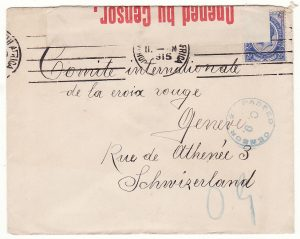 SOUTH AFRICA - SWITZERLAND..WW1 CENSORED to RED CROSS…