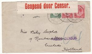 SOUTH AFRICA - HOLLAND..WW1 CENSORED...