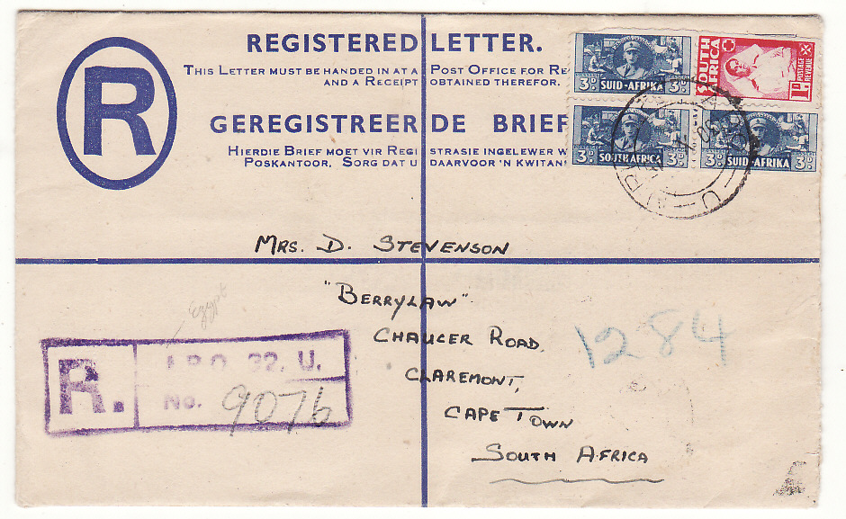 [20125]  EGYPT - SOUTH AFRICA...WW2 SOUTH AFRICAN FORCES REGISTERED AIRMAIL ...   1945 (Oct 30)