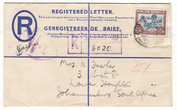 EGYPT - SOUTH AFRICA...WW2 SOUTH AFRICAN FORCES REGISTERED AIRMAIL...