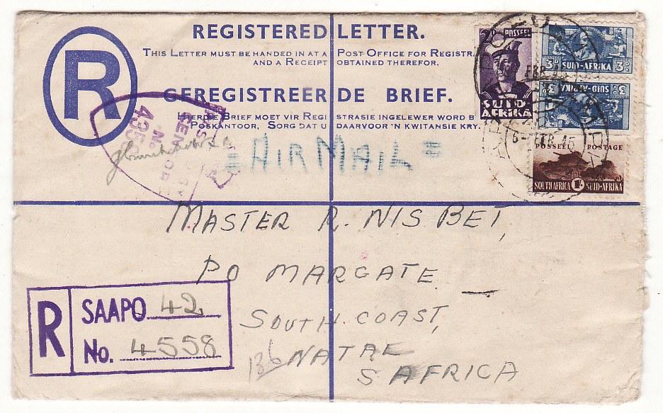 [20127]  ITALY - SOUTH AFRICA…WW2 SOUTH AFRICAN FORCES REGISTERED AIRMAIL…  1945 (Feb 6)