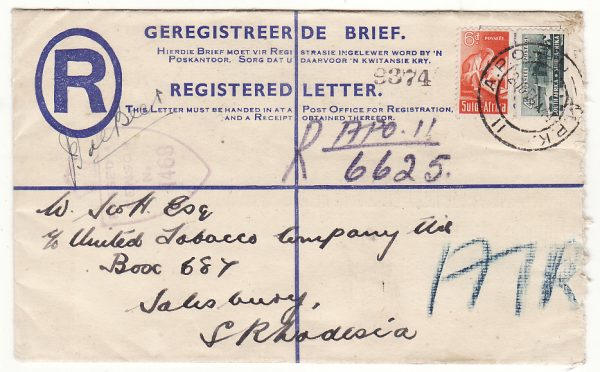ITALY - SOUTH RHODESIA...WW2 SOUTH AFRICAN FORCES REGISTERED AIRMAIL...