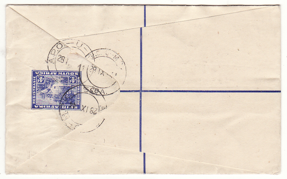 [20129]  EGYPT - SOUTH AFRICA...WW2 SOUTH AFRICAN FORCES REGISTERED AIRMAIL ...   1944 (Sep 28)