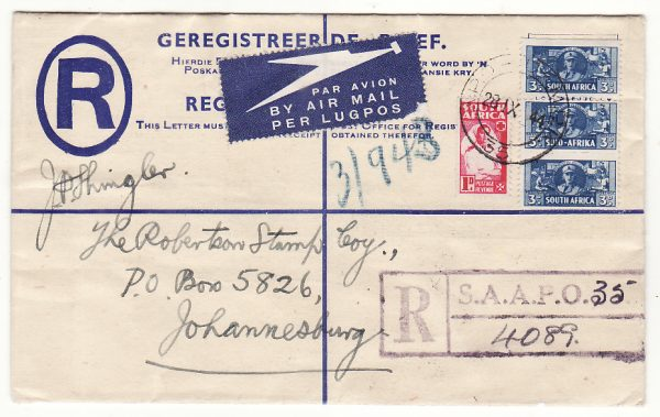 EGYPT - SOUTH AFRICA...WW2 SOUTH AFRICAN FORCES REGISTERED AIRMAIL ...
