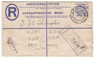 ITALY -EGYPT...WW2 SOUTH AFRICAN FORCES REGISTERED ...